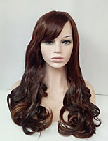 Long Wavy Wig Medium Golden Brown Glueless Synthetic Wigs for Women