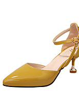 Women's Heels Comfort Summer PU Outdoor Gray Yellow Blushing Pink 3in-3 3/4in