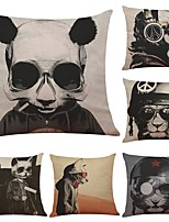 Set of 6 Novelty Cartoon Skull  Linen Cushion Cover Home Office Sofa Square Pillow Case Decorative Cushion Covers Pillowcases (18*18Inch)