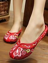 Для женщин Обувь Ткань Лето Удобная обувь Тапочки и Шлепанцы Назначение Повседневные Красный