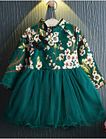 Robe Fille de Fleur Coton Polyester Automne Manches longues