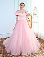 Ball Gown Jewel Neck Chapel Train Tulle Prom Wedding Party Dress with by MMHY