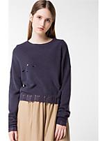 Для женщин На каждый день Простое Короткий Пуловер Однотонный,Круглый вырез Длинный рукав Акрил Полиэстер Осень Зима Средняя