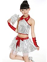 Jazz Outfits Kid's Performance Polyester Sequins 2 Pieces Sleeveless High Skirts Tops