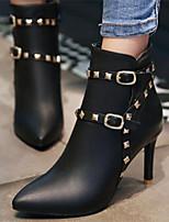 Для женщин Обувь Полиуретан Осень Зима Удобная обувь Ботинки Назначение Повседневные Черный Розовый
