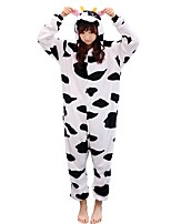 Kigurumi Pajamas Milk Cow Leotard Leotard/Onesie Festival/Holiday Animal Sleepwear Halloween Animal Flannelette Kigurumi For Couples