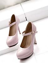 Для женщин Обувь на каблуках Удобная обувь Осень Полиуретан Повседневные Черный Миндальный Светло-Розовый 7 - 9,5 см
