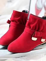 Feminino Sapatos Pele Nobuck Inverno Botas da Moda Botas Rasteiro Botas Curtas / Ankle Para Casual Preto Roxo Amarelo Vermelho