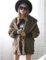 Для женщин На выход Большие размеры Осень Зима Пальто с мехом Рубашечный воротник,Простой Однотонный Обычная Длинный рукав,Искусственный