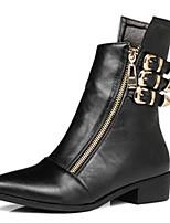 Feminino Sapatos Couro Ecológico Outono Inverno Conforto Botas Com Para Casual Preto