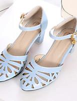 Mujer Zapatos PU Verano Confort Tacones Para Casual Blanco Azul Rosa