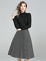 YIYEXINXIANGWomen's Going out Casual/Daily Simple Fall T-shirt Skirt SuitsStriped Stand Long Sleeve Micro-elastic