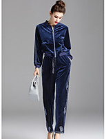 ZIYI Women's Casual/Daily Simple Fall Hoodie Pant SuitsSolid Round Neck Long Sleeve Micro-elastic