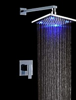Contemporary LED Wall Mounted Rain Shower with  Ceramic Valve Chrome , Shower Faucet
