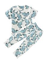 Boys' Dolphin Print Sets Cotton Summer Fall Short Sleeve Clothing Set T Shirt Long Pants 2pcs Outfits for Boys