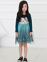 Girl's Print Dress,Cotton Polyester Spring Summer Long Sleeve