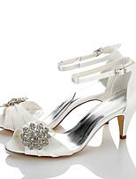 Women's Sandals Comfort Satin Summer Fall Wedding Party & Evening Dress Comfort Sparkling Glitter Cone Heel Ivory 2in-2 3/4in