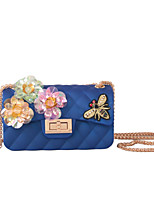 Women Bags All Seasons Silica Gel Shoulder Bag with Rhinestone Appliques Sparkling Glitter Bead Seemless Sequined Floral Flower Plaid