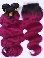 Beata Hair 8A Mink Brazilian Virgin Hair Straight 3 Bundles with Closure Ombre Brazilian Hair With Closure Human Hair Weave Bundles 1b/burgundy Ombre