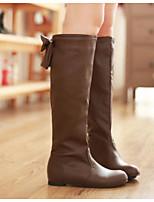 Damen Stiefel Komfort Echtes Leder PU Frühling Winter Normal Weiß Schwarz Braun Flach