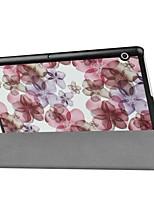 Padrão de pintura caixa de couro de três dobras com suporte para huawei mediapad t3 tablet de 10.0 polegadas