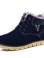 Men's Boots Comfort Snow Boots Fashion Boots Light Soles PU Fall Winter Casual Outdoor Lace-up Flat Heel Dark Brown Dark Blue Flat