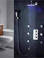 Современный LED На стену Боковой кран Дождевая лейка Ручная лейка входит в комплект Настенное крепление with  Медный клапан Хром ,