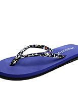 Для женщин Тапочки и Шлепанцы Удобная обувь Светодиодные подошвы Тапочки и шлепанцы Лето Ткань Повседневные Для праздника На плоской