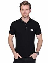 Для мужчин На каждый день Большие размеры Лето Polo Рубашечный воротник,Простое Однотонный С короткими рукавами,Хлопок Спандекс,Средняя