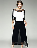 EWUS/Women's Sports Casual/Daily Simple Summer Fall Hoodie Pant SuitsSolid U Neck  Length Sleeve Cut Out