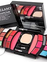 2 Blush Pó Compacto+Sombra para Olhos Lápis de Olho Sobrancelha+Gloss Labial+Espelho Esponja de Pó de Arroz/Esponja de Maquiagem Pau de