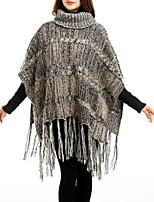 Women Vintage Cloak Cape Bohemian Tassels Fringed Shawl Wrap Scarf Wool Acrylic Rectangle Stripe Spring Fall High Collar Wine/Dark Grey/Khaki
