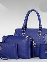 Mujer Bolsos Todas las Temporadas PU Redondas Conjuntos de Bolsa con Cremallera para Casual Azul Piscina Dorado Blanco Negro Rojo