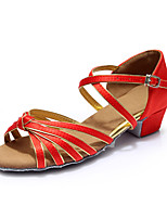 Women's Latin Silk Flats Indoor Buckle Customized Heel Ruby Customizable
