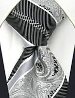 UXL29 Classic Unique For Men Neckties  Fashion Silver Stripes Paisley 100% Silk Business