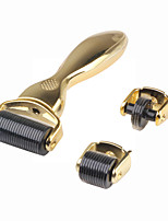 3 Roller Heads 180/600/1200 Micro Needles Titanium Derma Roller With Gold Handle