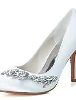 Feminino Sapatos De Casamento Sapatos formais Primavera Verão Cetim Casamento Festas & Noite Pedrarias Salto Agulha Branco Rosa claro 7,5