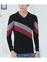 Men's Casual/Daily Simple Sweatshirt Color Block V Neck Micro-elastic Cotton ¾ Sleeve Spring Fall