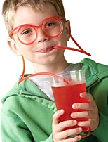 2PCS Glasses Straw Funny Soft Glasses Straw Unique Flexible Drinking Tube Kids Straws Bar Accesso(Random Color)