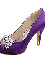 Women's Wedding Shoes Basic Pump Stretch Satin Spring Summer Wedding Dress Crystal Bowknot Stiletto Heel Dark Purple Ruby 4in-4 3/4in