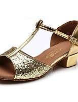 Women's Latin Faux Leather Full Sole Practice Low Heel Ruby Silver Gold Under 1