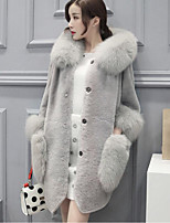 Women's Plus Size Casual/Daily Street chic Fall Winter Fur CoatSolid Hooded Long Sleeve Long Rabbit Fur Faux Fur Coat