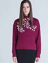 Для женщин На каждый день Простое Обычный Пуловер Однотонный,Хомут Длинный рукав Шерсть Акрил Полиэстер Осень Зима Толстая Слабоэластичная