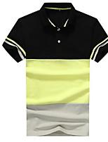 Для мужчин На выход Polo Рубашечный воротник,Уличный стиль Контрастных цветов С короткими рукавами,Другое