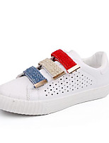 Women's Sneakers Comfort Spring Synthetic Microfiber PU Casual Black White Under 1in