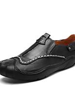 Для мужчин Мокасины и Свитер Удобная обувь Лето Осень Кожа Повседневные На плоской подошве Черный Коричневый На плоской подошве