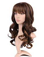 Long Wavy Wigs Black Mix Brown Costume Party Women Wig High Temperature Fiber Synthetic Hair Wig.