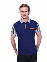 Men's Plus Size Fashion Striped Short Sleeved Polo Shirt Cotton Spandex Medium
