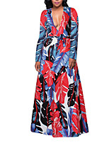 Women's Party Plus Size Holiday Club Sexy Vintage Boho Sheath Swing DressFloral Deep V Maxi Long Sleeve Plus Size Slim Grace Spring Fall High Rise