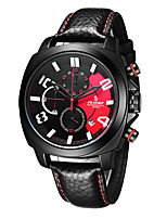 Men's Sport Watch Fashion Watch Japanese Quartz Chronograph Water Resistant / Water Proof Genuine Leather Band Black
